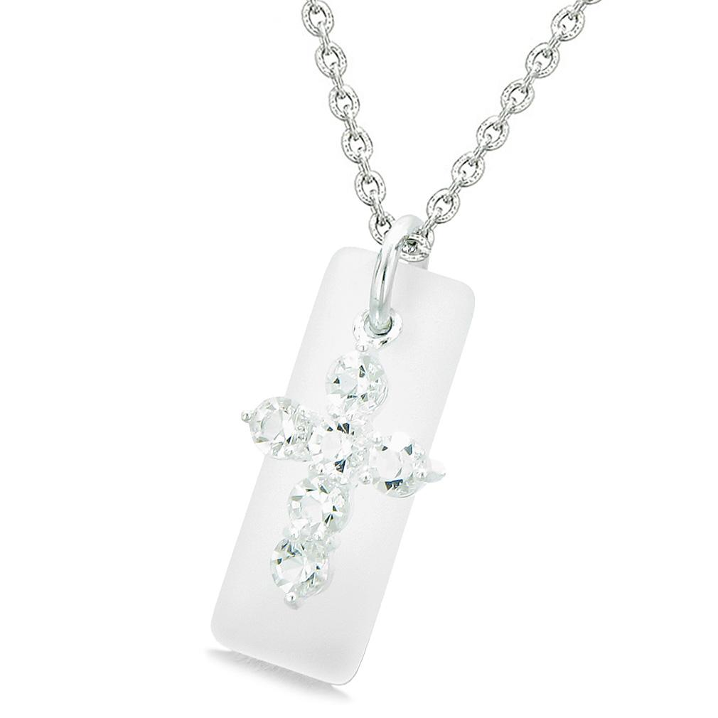 Sea Glass Mist White Tag Adorable Crystal Cross Protection Positive Powers Amulet 22 Inch Necklace