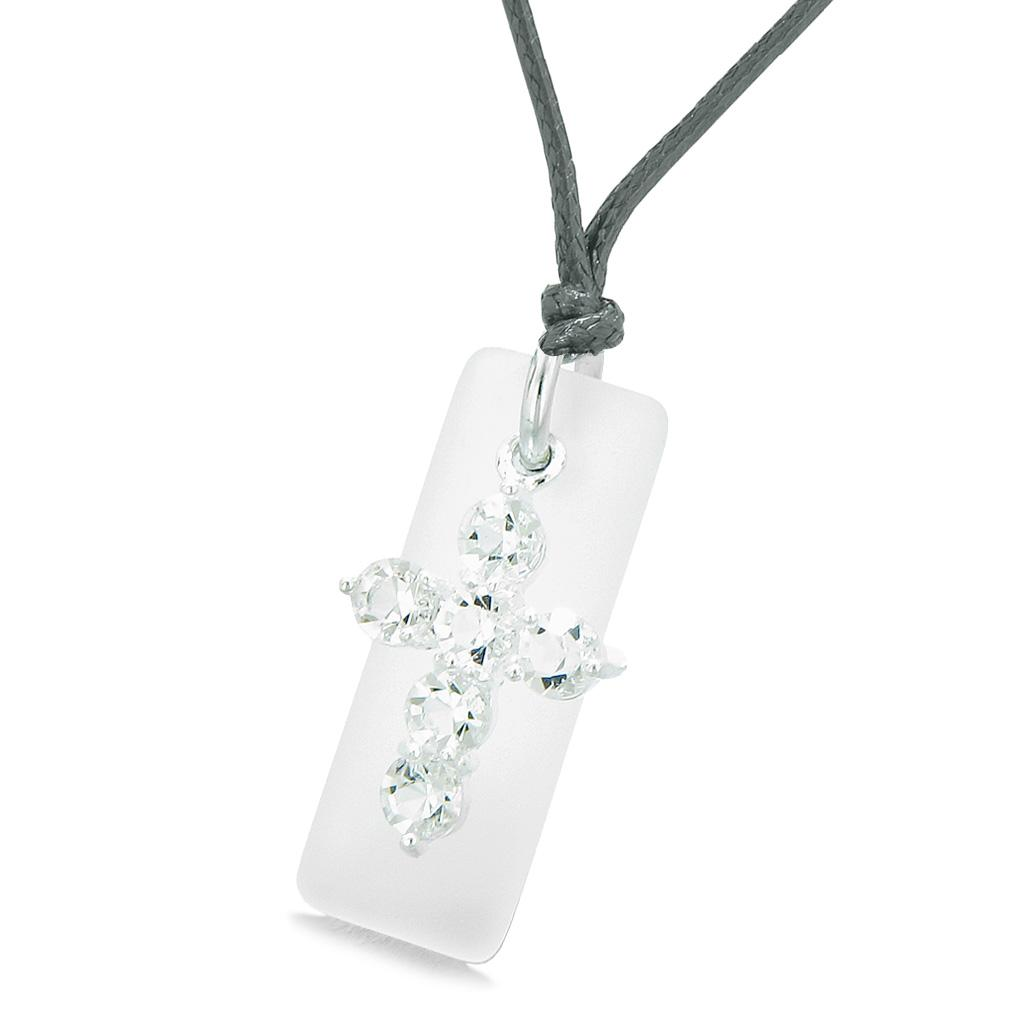 Sea Glass Mist White Tag Adorable Crystal Cross Protection Positive Powers Amulet Adjustable Necklace