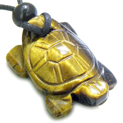 Amulet Lucky Charm Turtle Tiger Eye Gemstone Evil Eye Protection Powers Carved Pendant Necklace