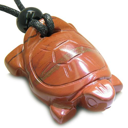 Amulet Lucky Charm Turtle Red Jasper Gemstone Healing Powers Carved Pendant Necklace