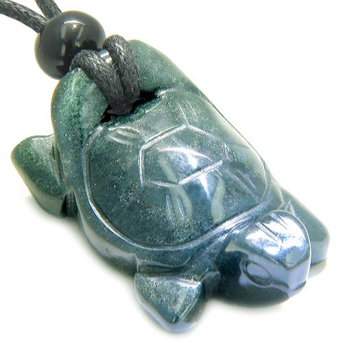 Amulet Lucky Charm Turtle Indian Green Agate Gemstone Healing Powers Carved Pendant Necklace