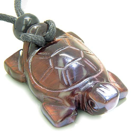 Amulet Lucky Charm Turtle Red Tiger Eye Gemstone Healing Powers HCarved Pendant Necklace