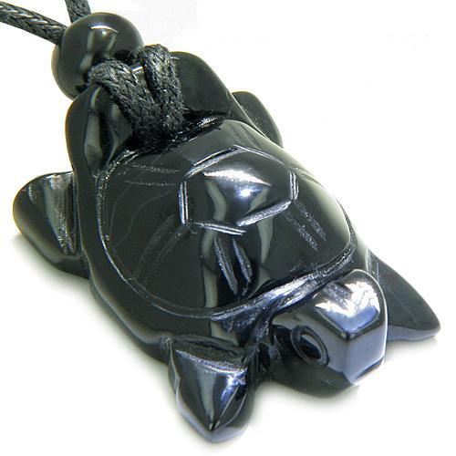 Amulet Lucky Charm Turtle Black Onyx Gemstone Spiritual Protection Powers Carved Pendant Necklace