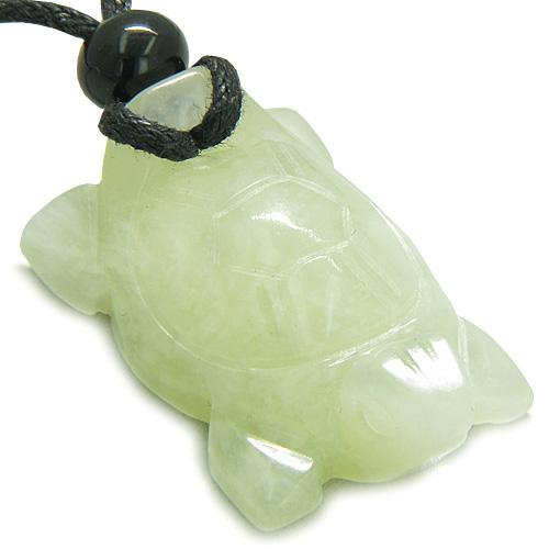 Amulet Lucky Charm Turtle New Jade Gemstone Evil Eye Protection Powers Carved Pendant Necklace
