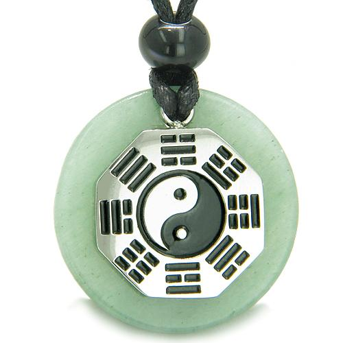 Yin Yang BA GUA Eight Trigrams Amulet Green Aventurine Magic Good Luck Powers Pendant Necklace