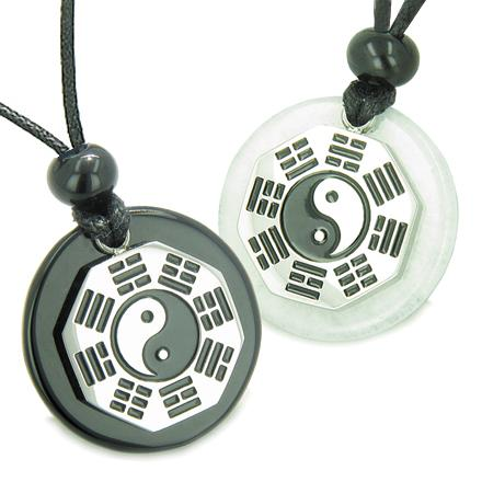 Positive Energy Love Couple or Best Friends BA GUA Ying Yang Jade Onyx Good Luck Pendants Necklaces