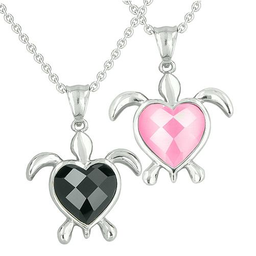 Amulets Love Couples Best Friends Set Turtle Heart Magic Yin Yang Onyx Pink Cats Eye Necklaces