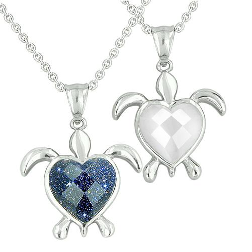 Amulets Love Couples Best Friends Turtle Heart Charm Yin Yang Goldstone White Cats Eye Necklaces