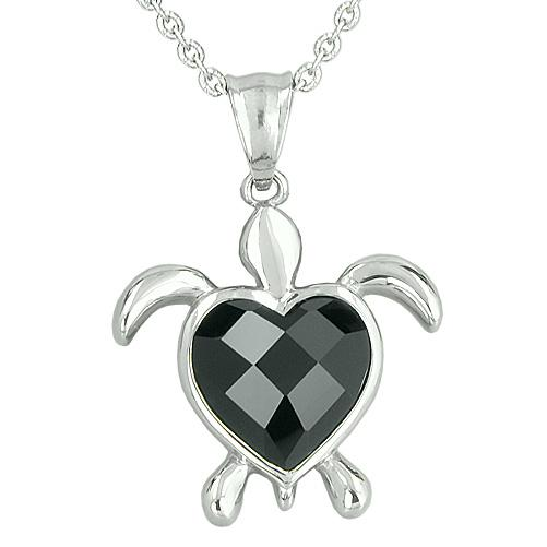 Lucky Charm Turtle Heart Powers Amulet Black Onyx Faceted Gemstone Magic Pendant Necklace