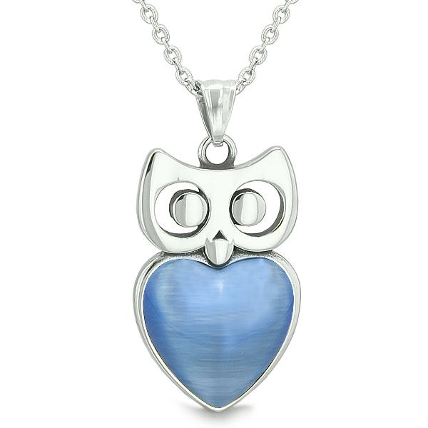 "Amulet Owl Cute Heart Lucky Charm Positive Energy Star Blue Cat's Eye Pendant on 18"" Necklace"