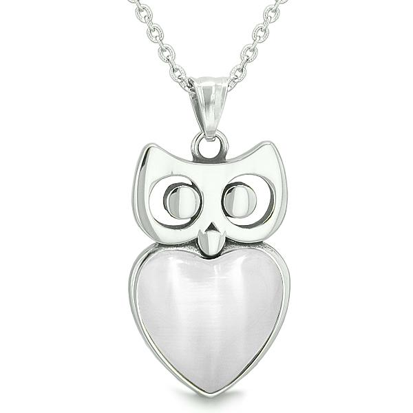 "Amulet Owl Cute Heart Lucky Charm Positive Energy White Cat's Eye Pendant on 22"" Necklace"