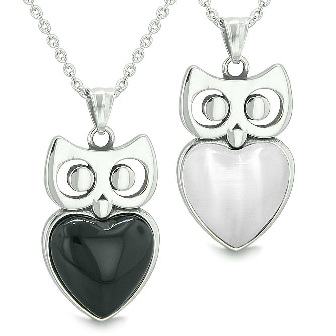 Amulets Owl Cute Heart Love Couple Best Friends Positive Energy Onyx Cats Eye Pendant Necklaces