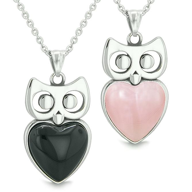 Amulets Owl Cute Heart Love Couple Best Friends Energy Black Onyx Pink Cats Eye Pendant Necklaces