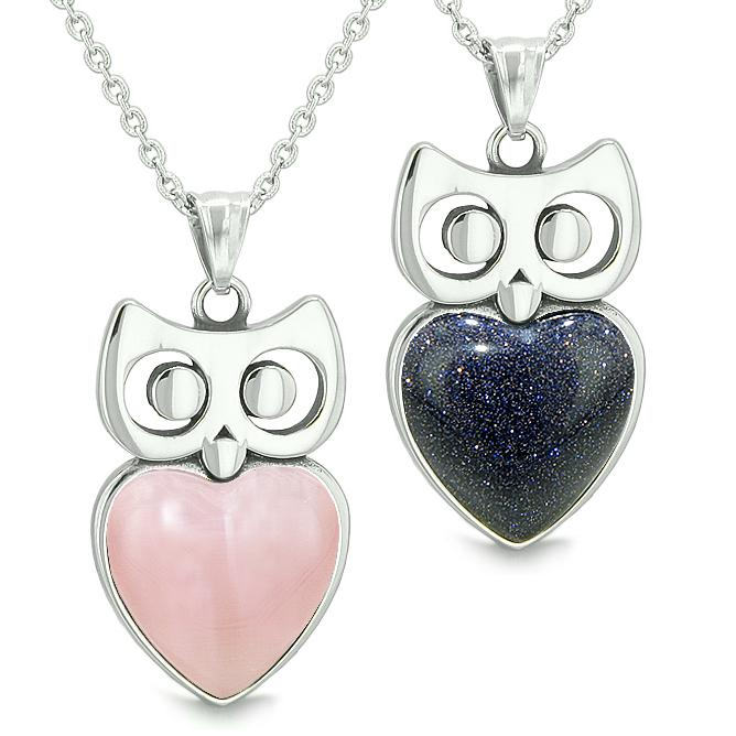 Amulets Owl Cute Hearts Love Couples or Best Friends Set Pink Cat's Eye Blue Goldstone Necklaces