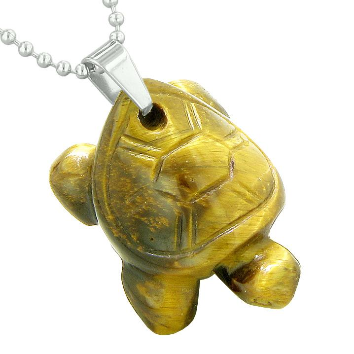 Amulet Turtle Cute Lucky Charm Healing Protection Powers Tiger Eye Pendant 22 Inch Necklace