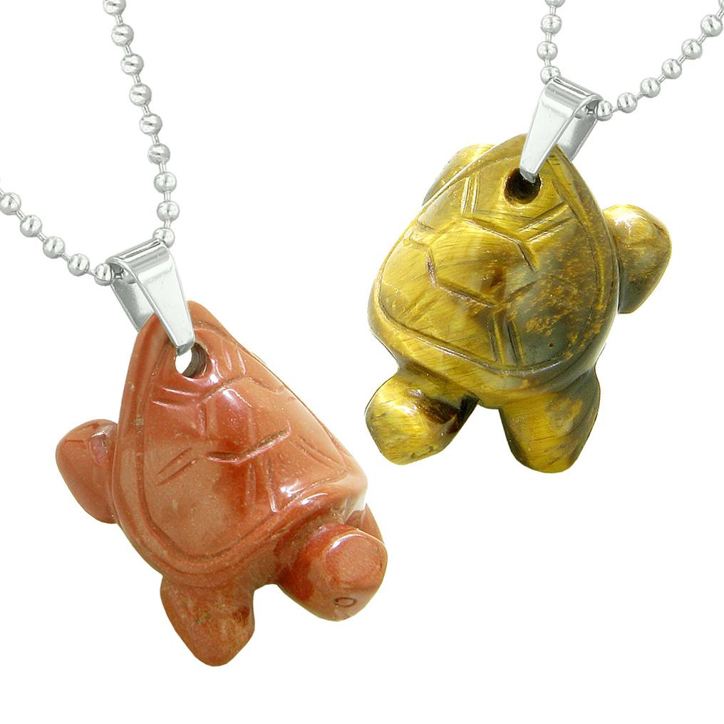 Lucky Turtles Charms Love Couples or Best Friends Healing Amulets Tiger Eye Red Jasper Necklaces