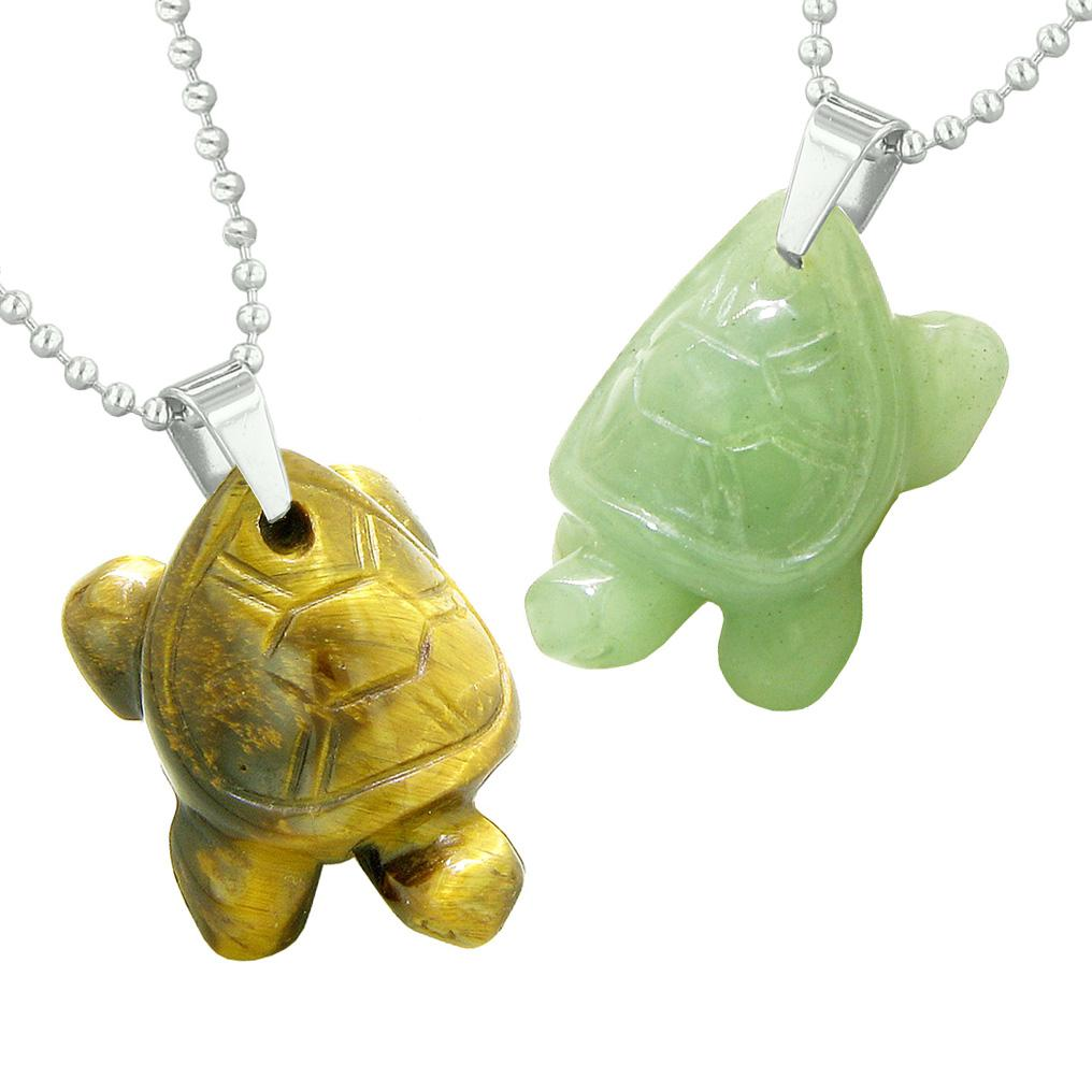 Lucky Turtles Charms Love Couples or Best Friends Healing Amulets Tiger Eye Green Quartz Necklaces