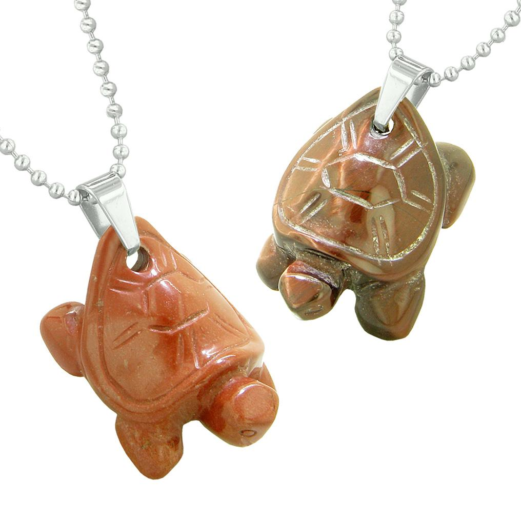 Lucky Turtles Charms Love Couples Best Friends Healing Amulets Red Tiger Eye Red Jasper Necklaces