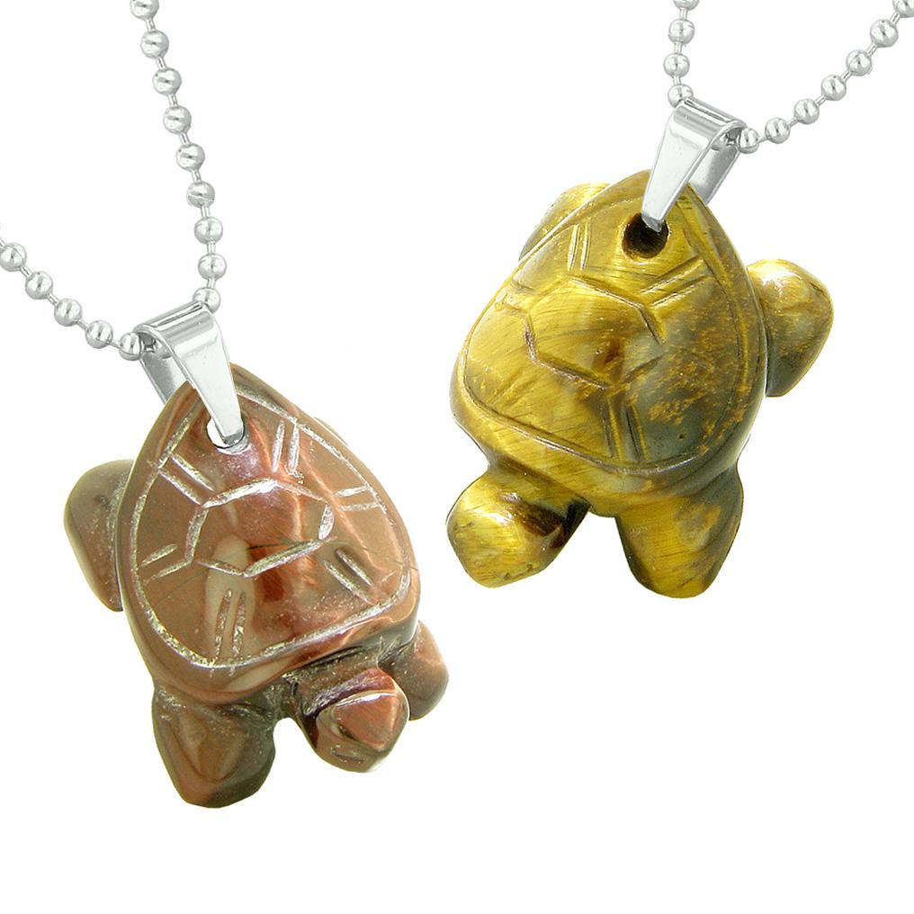 Lucky Turtles Charms Love Couples or Best Friends Healing Amulets Red Yellow Tiger Eye Necklaces