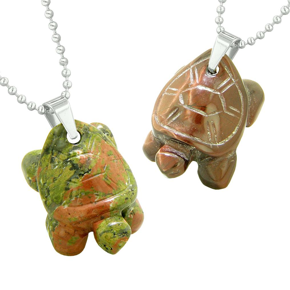 Lucky Turtles Charms Love Couples or Best Friends Healing Amulets Unakite Red Tiger Eye Necklaces