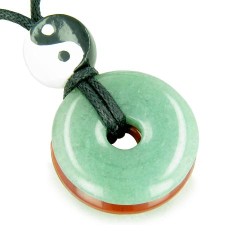 Amulet Double Lucky Yin Yang Donuts Green Aventurine Red Jasper Believe Money Powers Magic Necklace