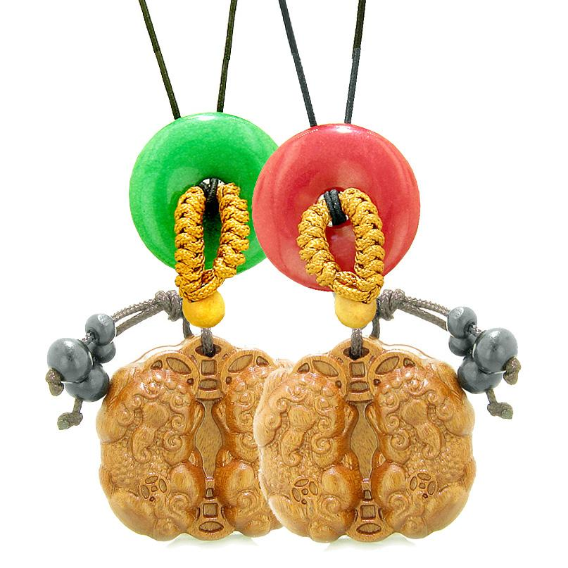 Double Dragon Car Charm Home Decor Cherry Red Green Quartz Donuts Love Couples Best Friends Amulets