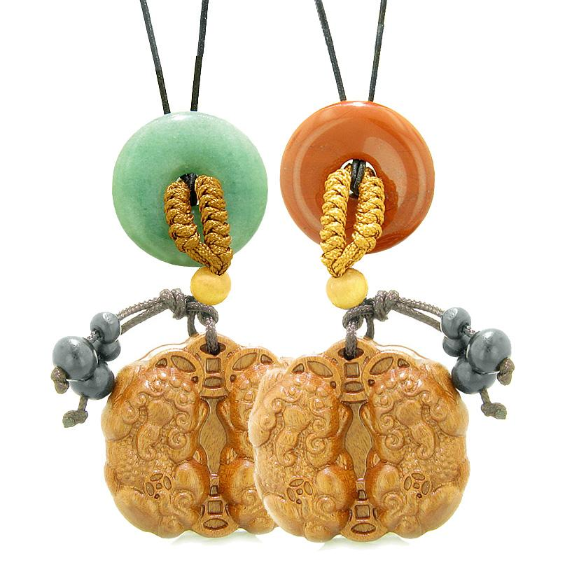 Double Dragon Car Charm Home Decor Green Quartz Red Jasper Donuts Love Couples Best Friends Amulets