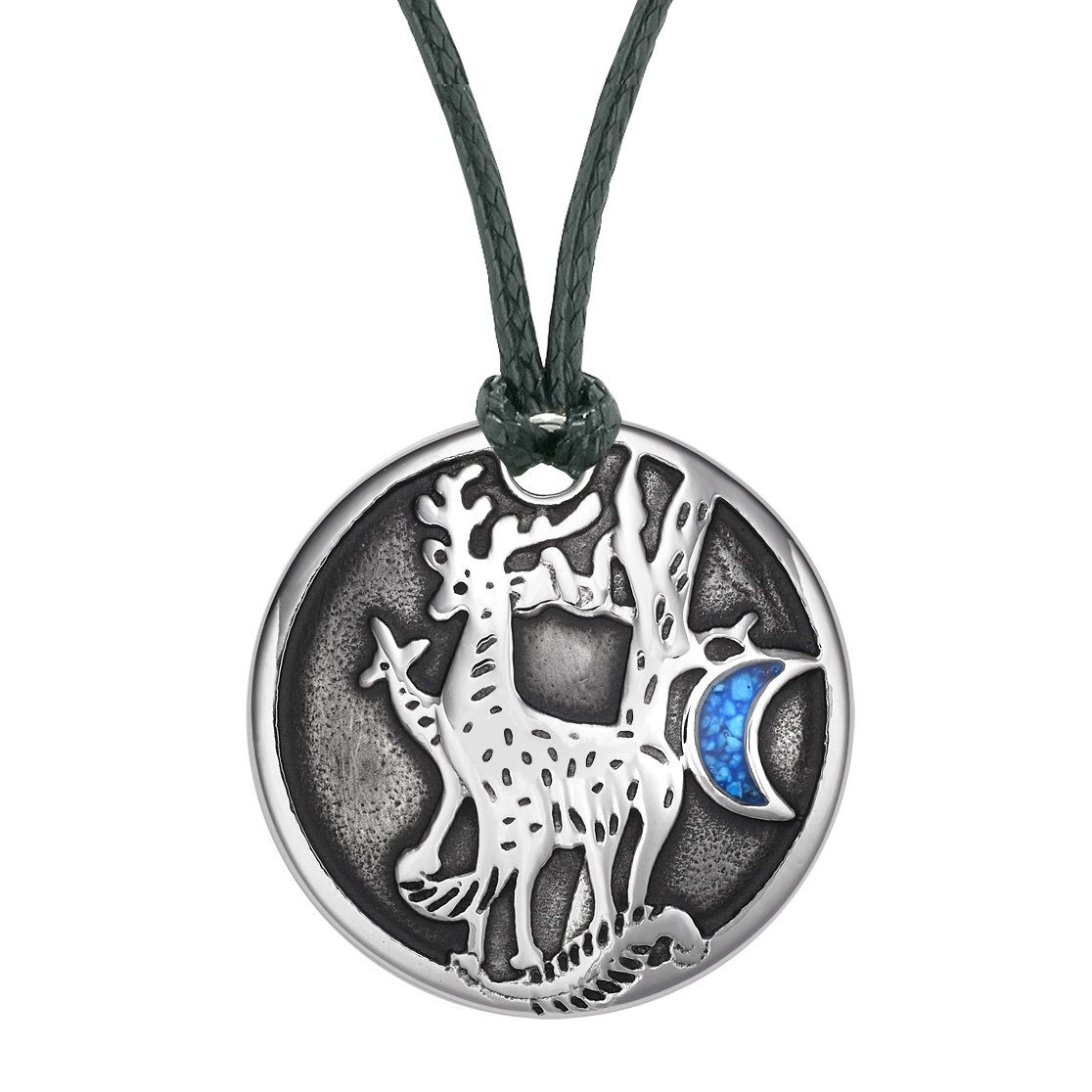 Unity Amulet Deer Family Wild Woods and Moon Powers Simulated Turquoise Chips Pendant Adjustable Necklace