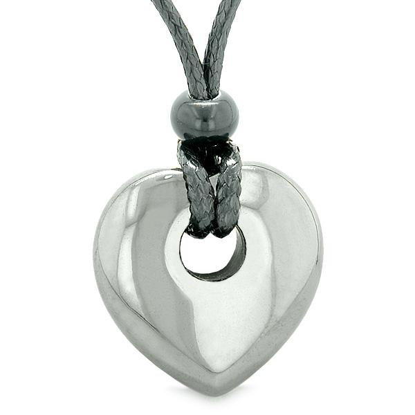 Amulet Lucky Heart Donut Shaped Charm Hematite Gemstone Pendant Spiritual Healing Necklace