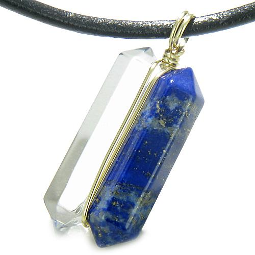 12K Gold Individual Amulet Double Wand Crystal Point Lapis Lazuli Quartz Gemstones Pendant Necklace