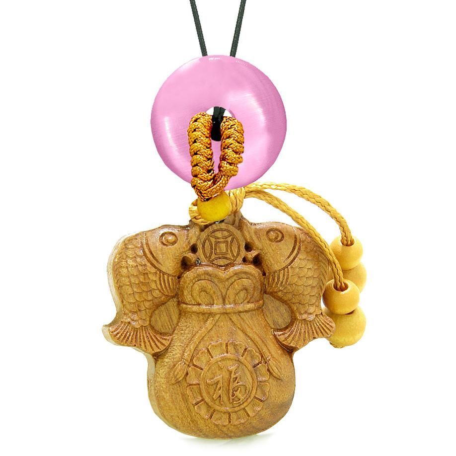 Double Fortune Fish Money Bag Car Charm Home Decor Pink Simulated Cats Eye Donut Magic Amulet