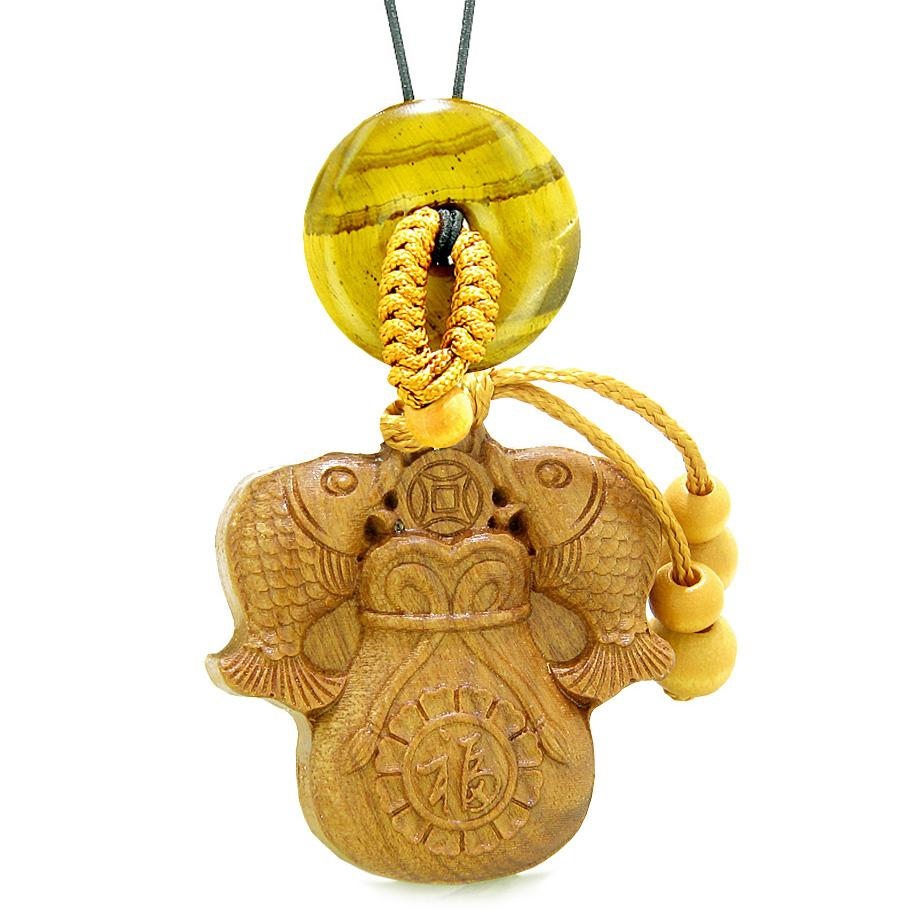 Double Fortune Fish Money Bag Car Charm Home Decor Tiger Eye Donut Protection Powers Magic Amulet