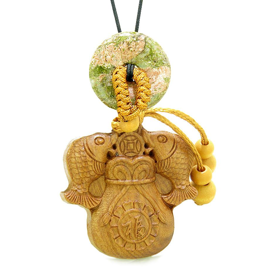 Double Fortune Fish Money Bag Car Charm or Home Decor Unakite Donut Protection Powers Magic Amulet