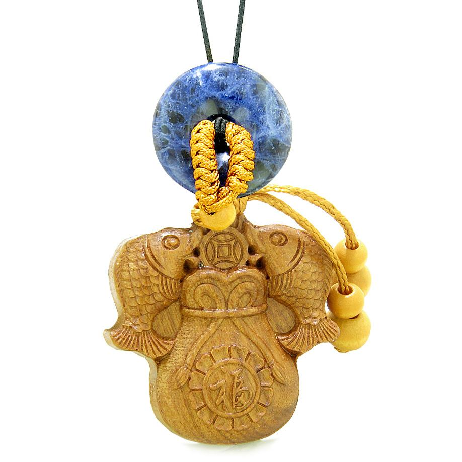 Double Fortune Fish Money Bag Car Charm or Home Decor Sodalite Donut Protection Powers Magic Amulet