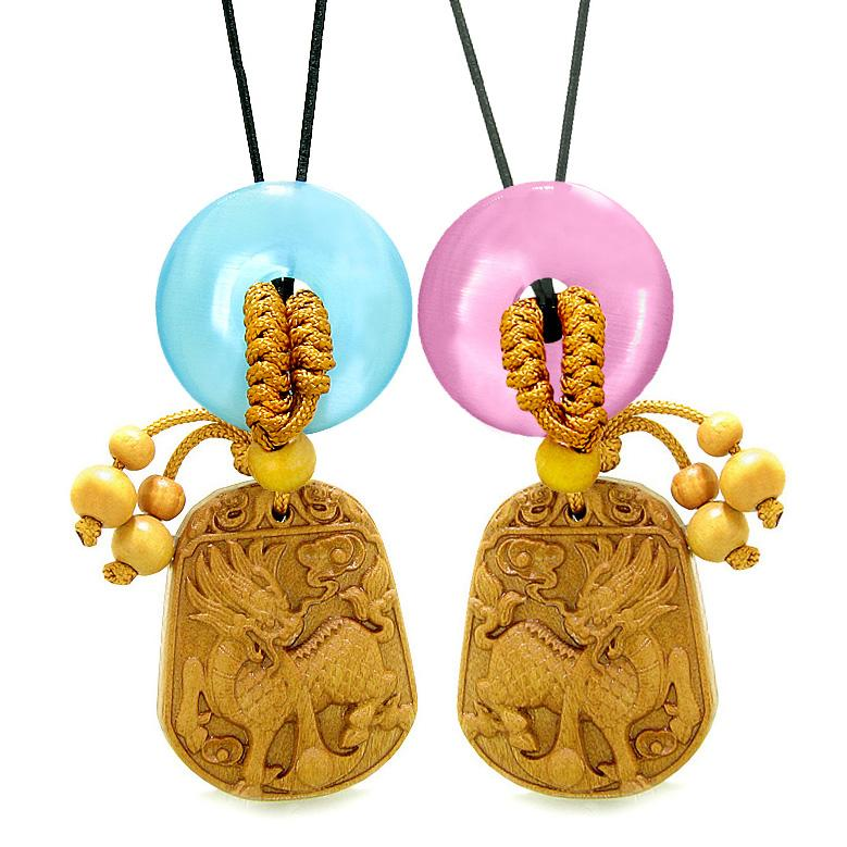 Lucky Dragon Car Charm Home Decor Blue Pink Simulated Cats Eye Donuts Couples Best Friend Amulets