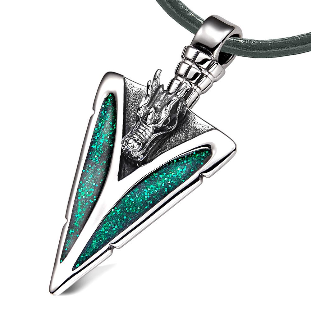 Arrowhead Courage Dragon Head Magic Powers Protection Amulet Sparkling Royal Green Leather Necklace