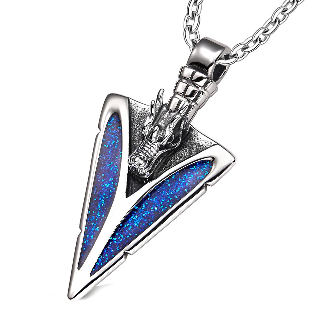 Arrowhead Courage Dragon Head Magic Powers Protection Amulet Sparkling Royal Blue 18 Inch Necklace