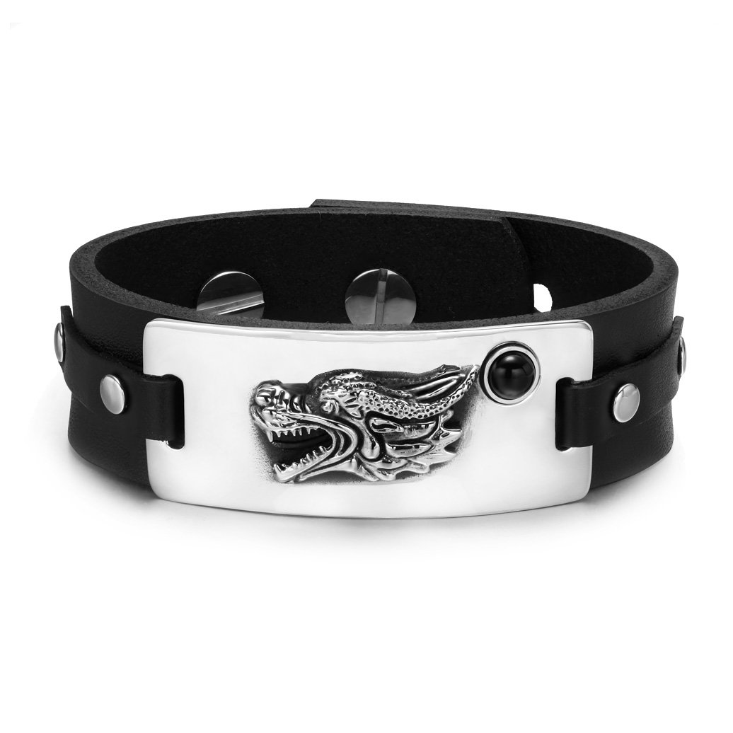 Courage Dragon Magic Protection Powers Amulet Black Simulated Onyx Adjustable Leather Bracelet