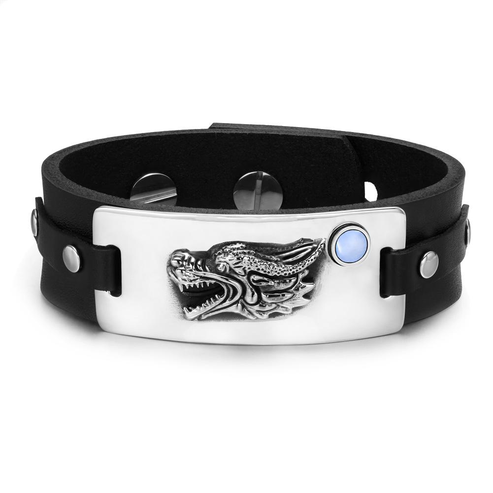 Courage Dragon Magic Protection Powers Amulet Sky Blue Simulated Cats Eye Leather Bracelet