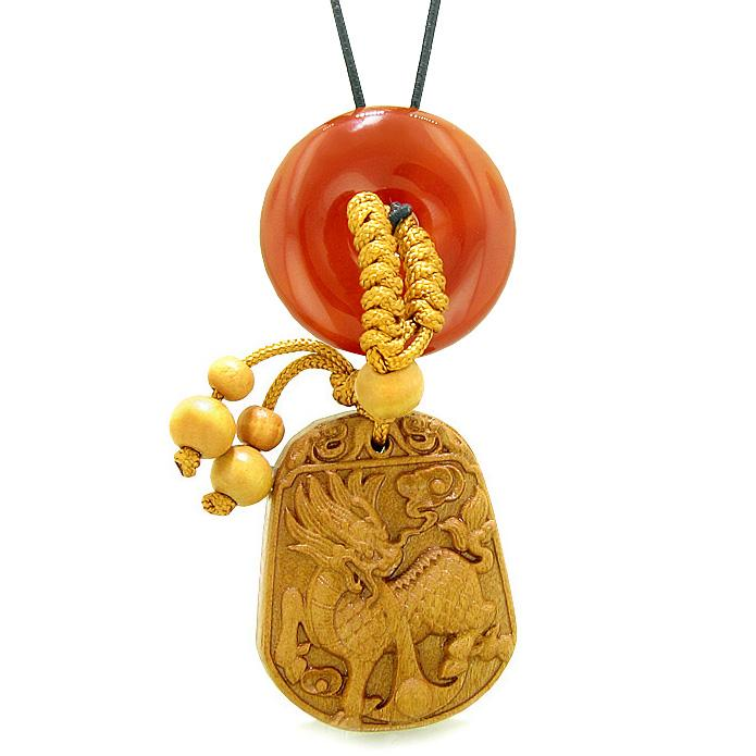 Lucky Dragon Car Charm or Home Decor Carnelian Lucky Coin Donut Magic Protection Powers Amulet