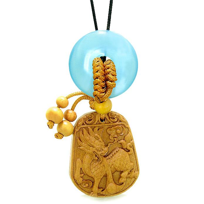 Lucky Dragon Car Charm Home Decor Sky Blue Simulated Cats Eye Lucky Coin Donut Magic Amulet