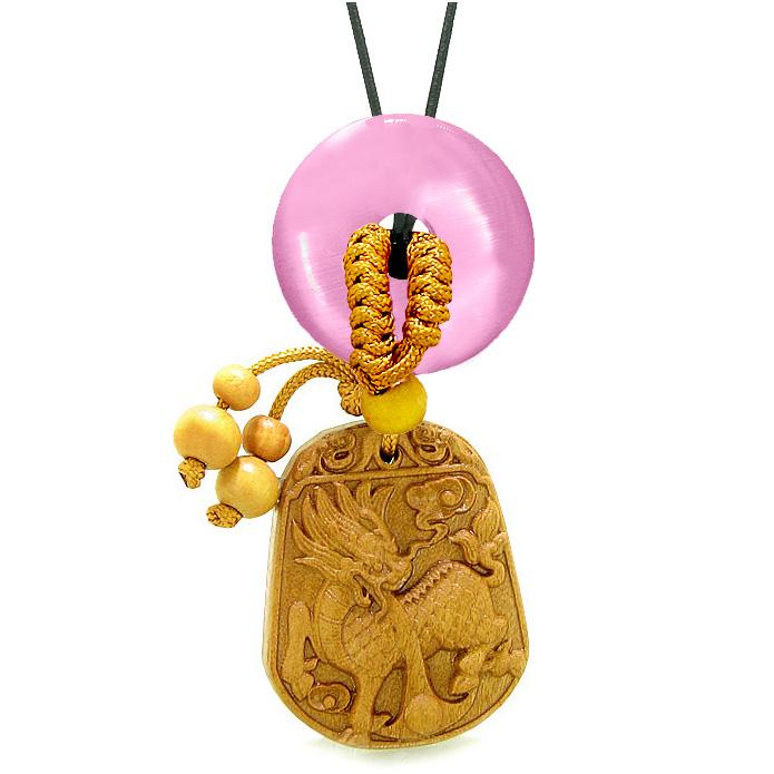 Lucky Dragon Car Charm Home Decor Pink Simulated Cats Eye Lucky Coin Donut Protection Powers Amulet