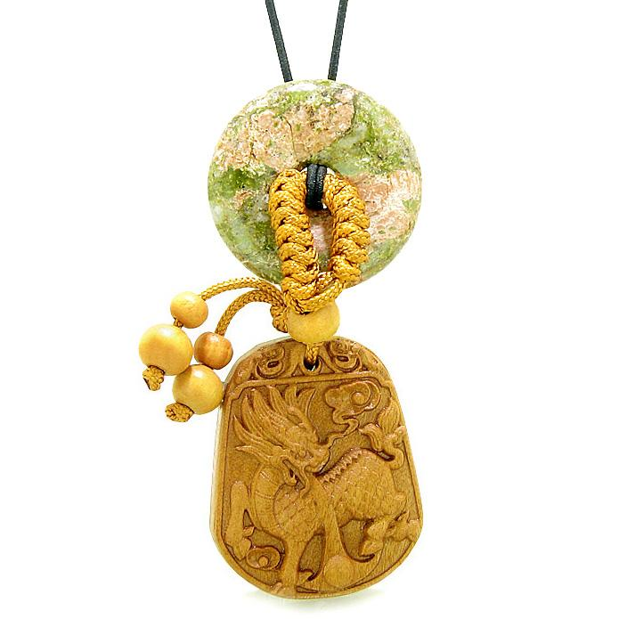 Lucky Dragon Car Charm or Home Decor Unakite Lucky Coin Donut Magic Protection Powers Amulet