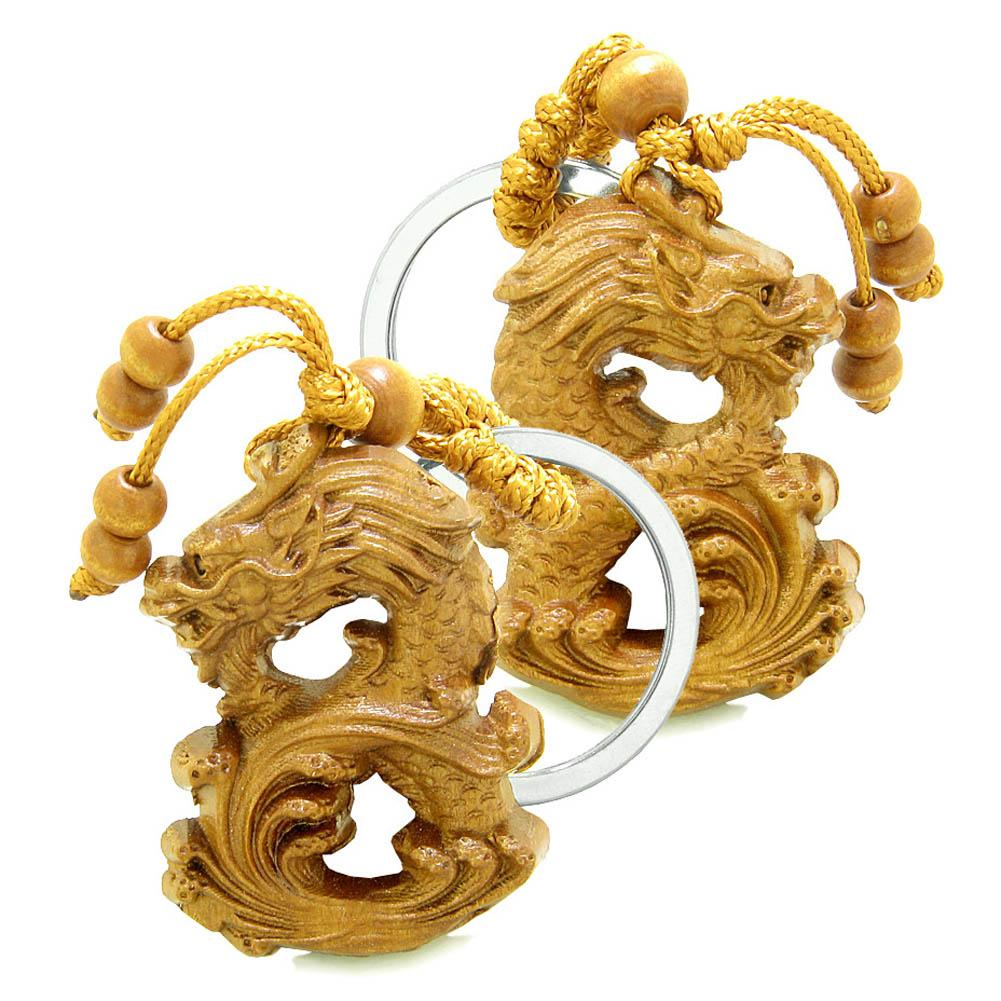 Amulet Brave and Magical Dragon Good Luck Charms Protection Powers Feng Shui Keychain Set Blessings