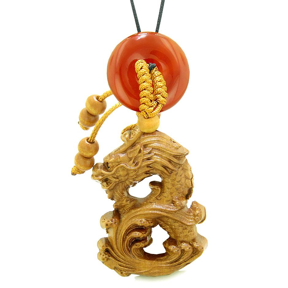 Brave Magic Dragon Lucky Car Charm or Home Decor Carnelian Donut Protection Powers Amulet