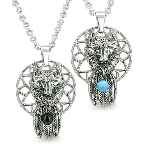 Positive Powers Wolf Dreamcatcher Love Couple Feathers Moon Onyx Turquoise Eye Pendants Necklaces