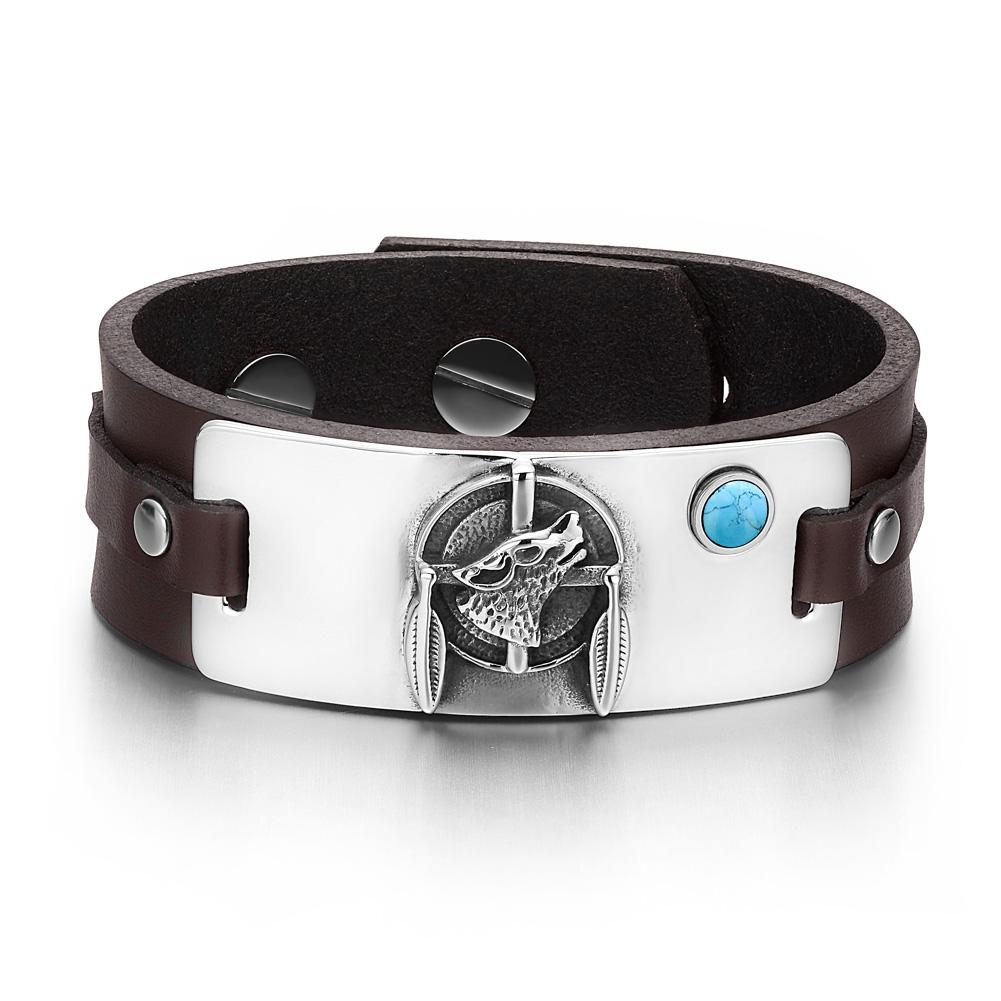 Howling Wolf Dreamcatcher Magic Amulet Simulated Turquoise Adjustable Dark Brown Leather Bracelet