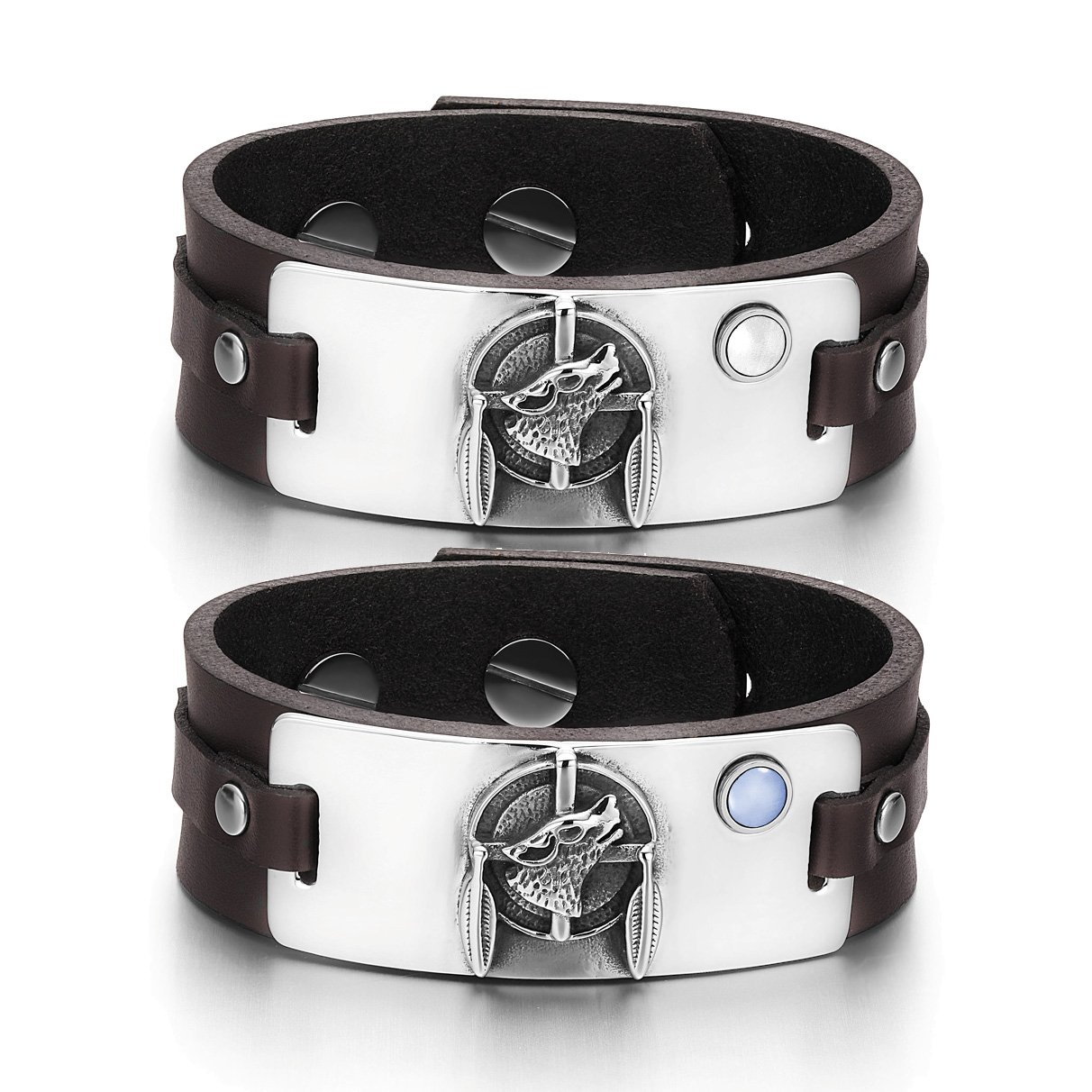 Howling Wolf Dreamcatcher Amulets Couples White Blue Simulated Cats Eye Brown Leather Bracelets