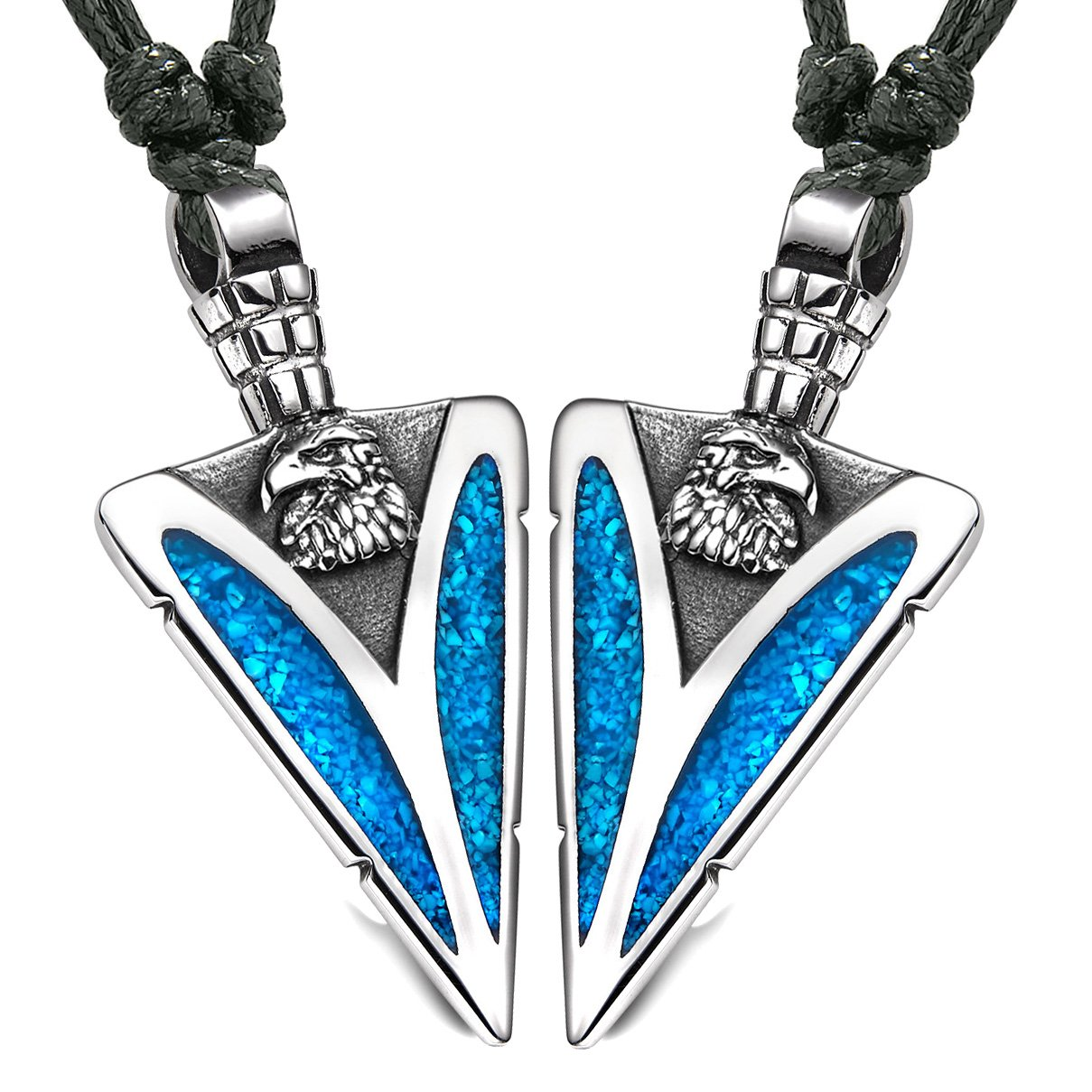 Arrowhead Wild American Eagle Head Love Couples BFF Set Amulets Simulated Turquoise Adjustable Necklaces