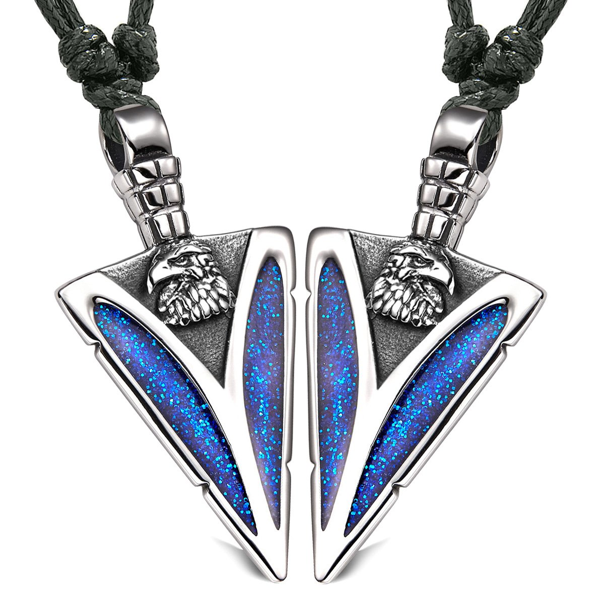 Arrowhead Wild American Eagle Head Love Couples or BFF Set Amulets Sparkling Blue Adjustable Necklaces